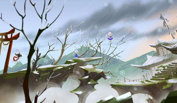 Фото Cirno / Чирно, Hakurei Reimu / Рейму Хакурей и Izayoi Sakuya летают над скалами возле японского храма зимой из игры Проект Восток / Touhou Project