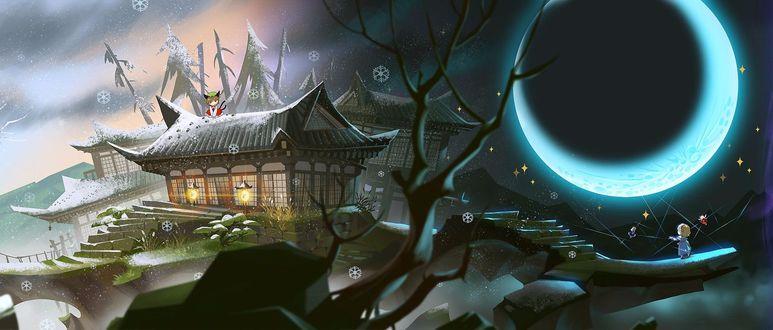 Фото Alice Margatroid / Алиса Маргатроид и Чен / Chen наблюдают лунное затмение возле японского храма из игры Проект Восток / Touhou Project
