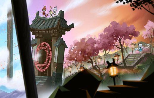 Фото Ёму Конпаку / Youmu Konpaku и дух Myon стоят на лестнице у магических ворот из игры Проект Восток / Touhou Project (© Romi), добавлено: 16.07.2017 09:20
