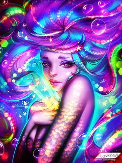 Фото Русалочка с неоновыми, сиренево-голубыми волосами под водой, by AyyaSAP
