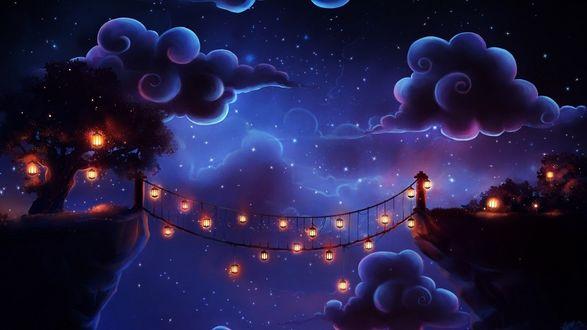 Фото Звездная ночь и яркие фонарики на деревьях и на мосту