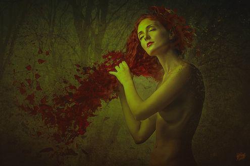 Фото Обнаженная девушка с длинными рыжими волосами, by Peter Brownz Braunschmid
