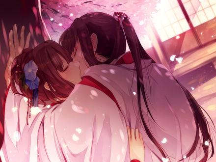 Фото Sagihara Sakyou / Сагихара Сакеу целуется с Kayo под цветущей сакурой ночью из визуальной новеллы / игры Ken ga Kimi / Кен га Кими, art by Onoko