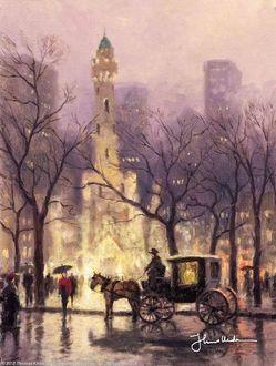 Фото Туманный дождливый день, по улице движутся повозки, сквозь ветви деревьев виднеются городские здания, by Thomas Kinkade / Уильям Томас Кинкаде