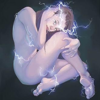 Фото Тело обнаженной девушки в молниях, by QuietLittleLeaf