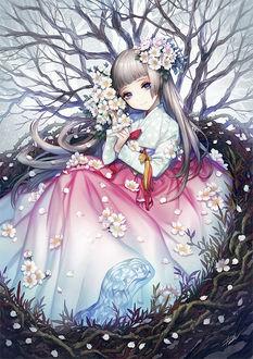 Фото Девушка с весенними цветами, by Danhu Moon