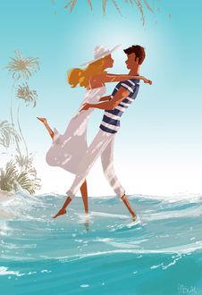 Фото Парень обнимает девушку, оба стоят на воде, by Pascal Campion