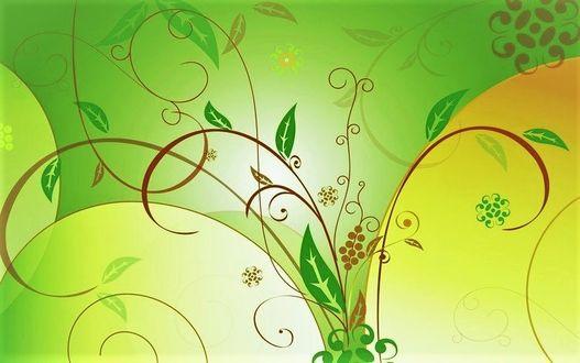 Фото Цветочный узор на желто-зеленом фоне