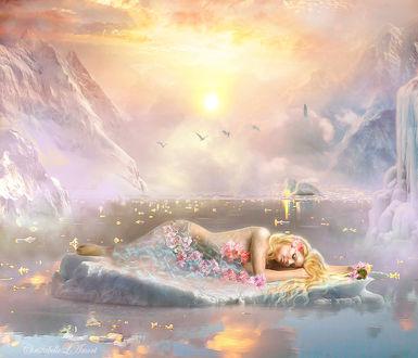 Фото Спящая девушка, прикрытая цветами, by ChristabelleLAmort