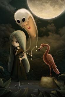 Фото Среди ночного болота девушка утопленница держит в руке за хвост существо-привидение с красным сердечком, рядом стоит сумочка и розовый фламинго, испанская художница Лиран Шейман / Liran Szeiman