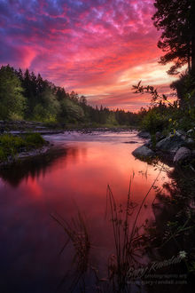 Фото Закат над рекой Sandy / Сэнди возле горы Hood Oregon / Худ Орегон в Central Oregon / Центральном Орегоне, фотограф. Gary Randall