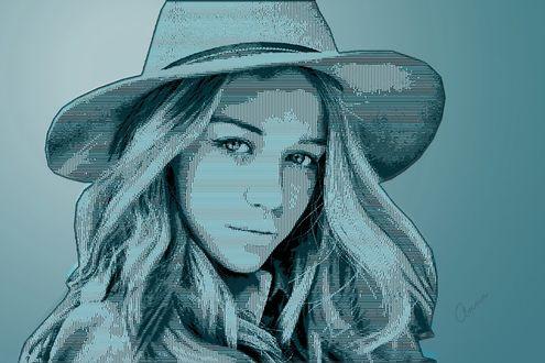 Фото Девушка в шляпе с распущенными волосами