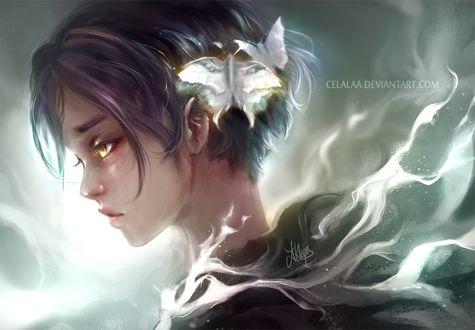 Фото Девушка с бабочками в волосах, by Celalaa