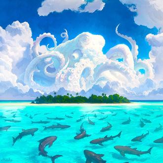 Фото Рыбы в воде и огромный осьминог в небе