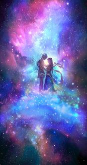 Фото Влюбленные стоят на фоне космоса