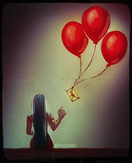Фото Девушка сидит к нам спиной перед конвертом на воздушных шарах, by mcptato