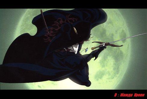 Фото Дампир Ди атакует на фоне полной Луны из аниме Vampire Hunter D / Охотник на вампиров Ди / Жажда крови