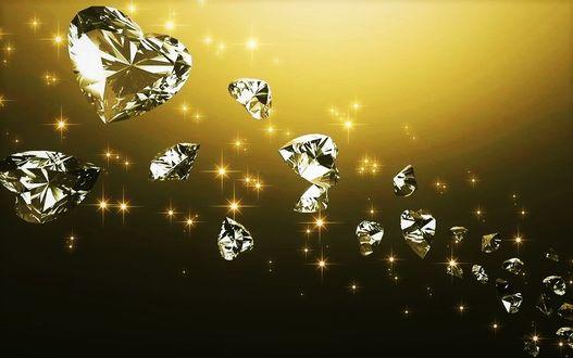 Фото Вереница хрустальных сердечек в золотых искрах