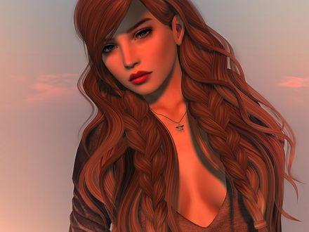 Фото Симпатичная девушка с шикарными волосами