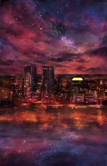 Фото Город под облачным небом и его отражение в воде