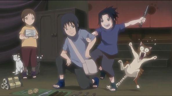 Фото Из аниме Наруто / Naruto, Саске Учиха / Sasuke Uchiha развлекается с котом, а Итачи Учиха / Uchiha Itachi выбирает оружие