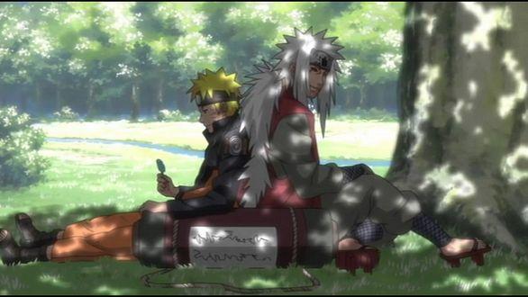 Фото Наруто Узумаки / Naruto Uzumaki и учитель Jiraya отдыхаут в тени под деревом в летний день из аниме Наруто / Naruto