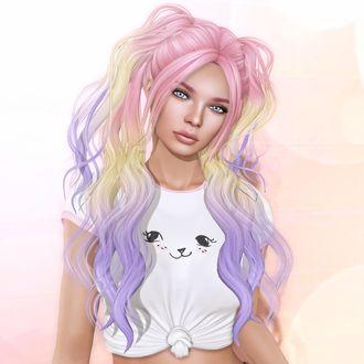 Фото Девушка с разноцветными волосами и голубыми глазами
