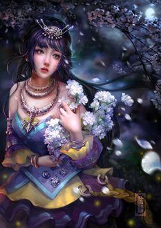 Фото Плачущая девушка с украшением на голове и букетом белых цветов в руках, by cao yuwen
