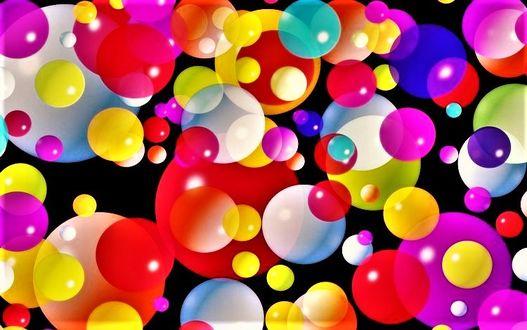 Фото Разноцветные сферы на черном фоне