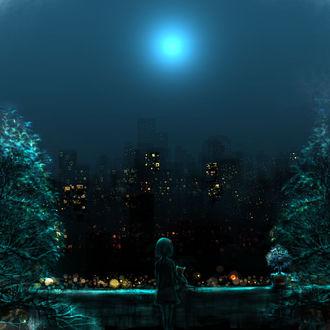 Фото Девочка с котенком смотрят на ночной город под небом с луной
