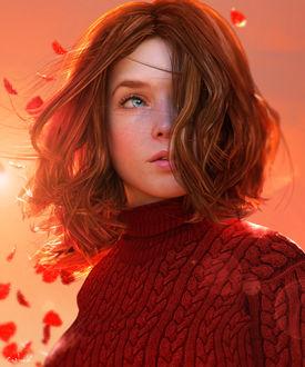 Фото Красивая рыжеволосая девушка с голубыми глазами, by Conlaodh