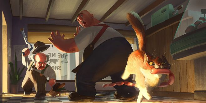 Фото Кошка ворует сосиски из магазина, by Andrey Ivanov