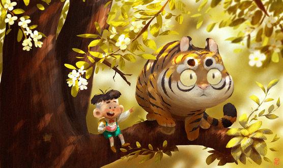 Фото Мальчик сидит на ветке дерева с тигром и кушает арбуз, by Gop Gap