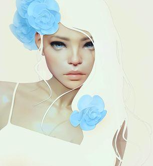 Фото Девушка с голубыми цветами, Art of Cezar Brandao