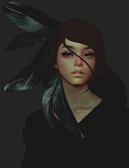 Фото Девушка с перьями в волосах на черном фоне, by CezarBrandao