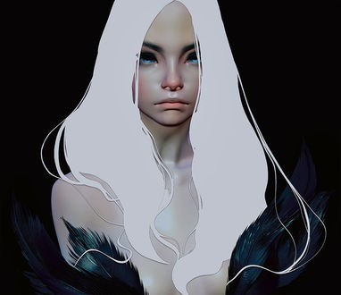 Фото Девушка с длинными белыми волосами, by CezarBrandao
