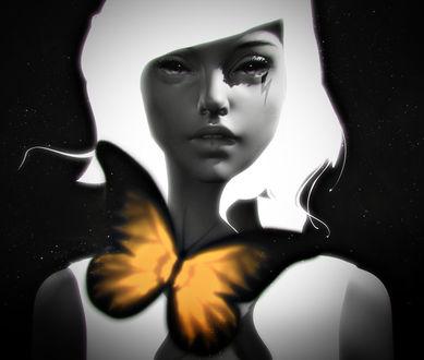 Фото Девушка с бабочкой перед ней, by CezarBrandao