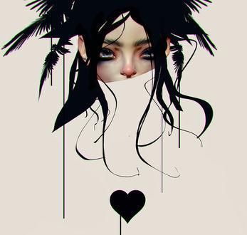 Фото Девушка с полуприкрытым лицом и сердечком перед ней, by CezarBrandao