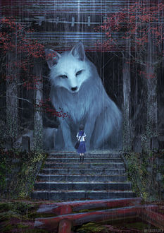 Фото Школьница стоит перед огромной белой лисицей, by Ariduka