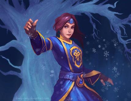 Фото Девушка маг на фоне белого дерева / арт на игру World of Warcraft, by lowly-owly