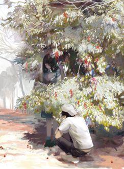 Фото Девушка стоит, а парень сидит у цветущего дерева