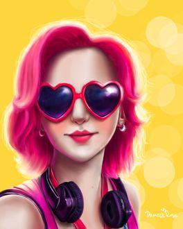 Фото Девушка в очках в виде сердечек и наушниками на шее, by DamaskRose0503