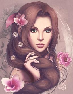 Фото Портрет Aerith / Айрис с цветами в волосах, by Emeraldus