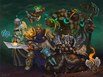 Фото Ночная эльфийка, гном, человек, ворген и таурен / арт на игру World of Warcraft, by lowly-owly