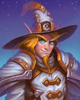 Фото Кровавый эльф в белых одеяниях и в шляпе / арт на игру World of Warcraft, by lowly-owly