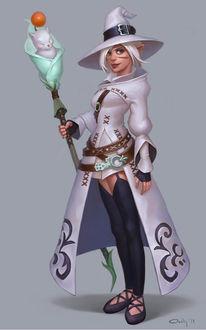 Фото Белый маг с посохом в руках / арт на игру Final fantasy 14, by lowly-owly