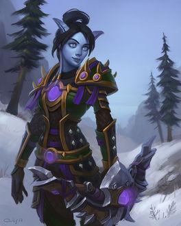 Фото Дренейка охотница с луком в руке / арт на игру World of Warcraft, by lowly-owly