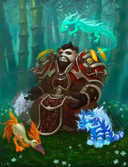Фото Пандарен сидит в лесу, окруженный питомцами / арт на игру World of Warcraft, by lowly-owly