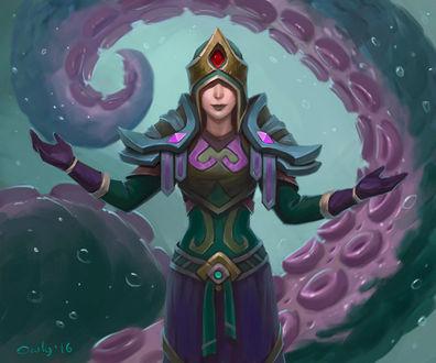 Фото Девушка с большим щупальцем за спиной / арт на игру World of Warcraft, by lowly-owly