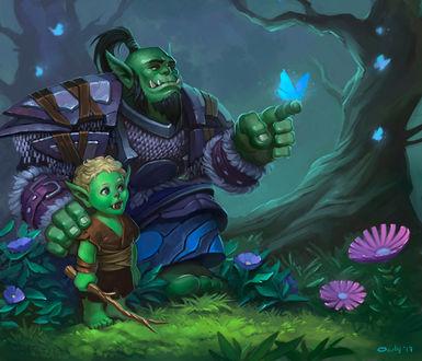 Фото Мужчина орк обнимает маленького орченка и держит на пальце бабочку / арт на игру World of Warcraft, by lowly-owly